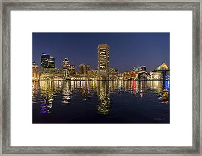 Inner Harbor Nightlights Framed Print