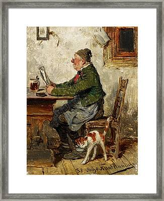 Innkeeper With A Cat Framed Print