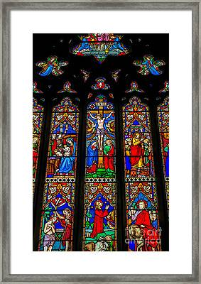 Inri Stained Glass Framed Print by Adrian Evans