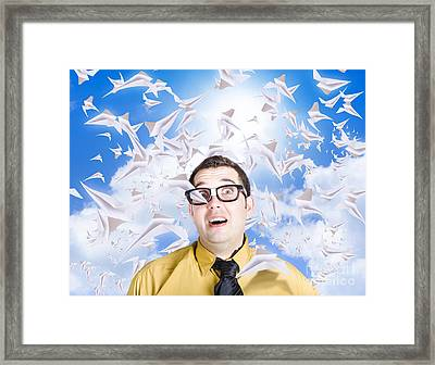 Insane Business Man With Busy Travel Schedule Framed Print by Jorgo Photography - Wall Art Gallery