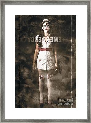 Insane Emergency Room Nurse At Er Glass Doors Framed Print by Jorgo Photography - Wall Art Gallery