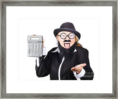 Insane Woman Shouting And Holding Calculator Framed Print by Jorgo Photography - Wall Art Gallery