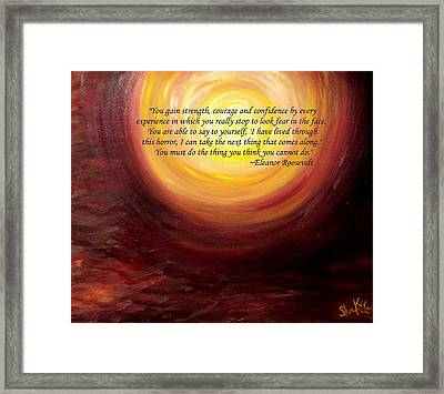 'insatiable' Painting With Eleanor Roosevelt Quote Framed Print by Shannon Keavy