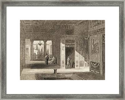 Inside And Patio Of A Roman House Framed Print by Vintage Design Pics