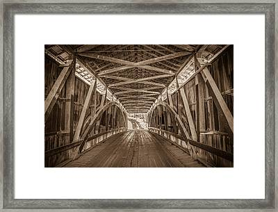 Inside Indiana's Rolling Stone Covered Bridge Framed Print