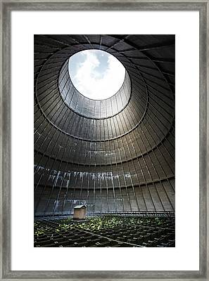 Framed Print featuring the photograph Inside Industrial Cooling Tower Stands A Mysterous Little House by Dirk Ercken