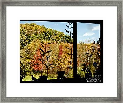 Inside Looking Outside At Fall Splendor Framed Print by Carol F Austin