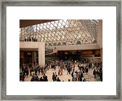 Framed Print featuring the photograph Inside Louvre Museum Pyramid by Mark Czerniec
