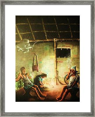 Inside Refugee Hut Framed Print by Pralhad Gurung