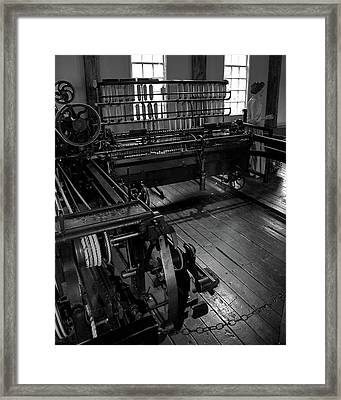 Inside Slater Mill Framed Print