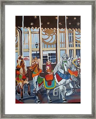 Inside The Carousel House Framed Print