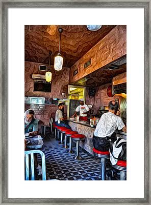 Inside The Clover Grill Framed Print