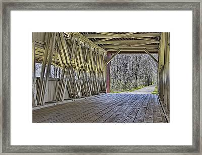 Inside The Covered Bridge Framed Print by William Sturgell