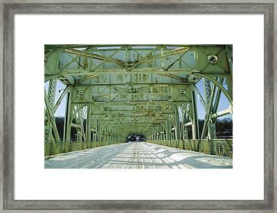 Inside The Falls Bridge - Winter Framed Print by Bill Cannon