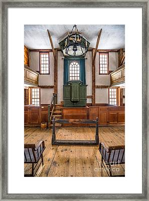 Inside The Harpswell Meetinghouse Framed Print by Benjamin Williamson