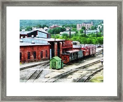 Inside The Train Yard Framed Print