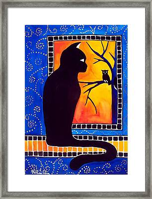 Insomnia - Cat And Owl Art By Dora Hathazi Mendes Framed Print by Dora Hathazi Mendes