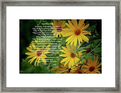Inspiration For Today Floral Framed Print by Cathy  Beharriell
