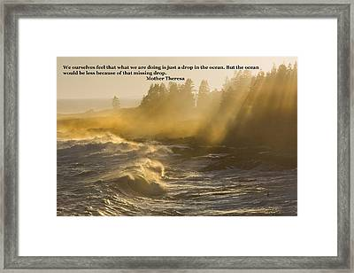 Inspirational Mother Theresa Quote Waves Lightbeams On The Coast Framed Print by Keith Webber Jr