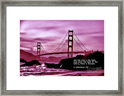 Inspirational - Nightfall At The Golden Gate Framed Print