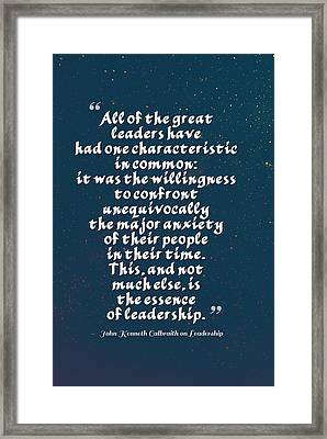 Inspirational Quotes - Motivational , Leadership - 25  John Kenneth Galbraith Framed Print by Celestial Images