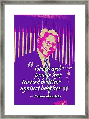 Inspirational Quotes - Motivational - 123 Nelson Mandela Framed Print by Celestial Images
