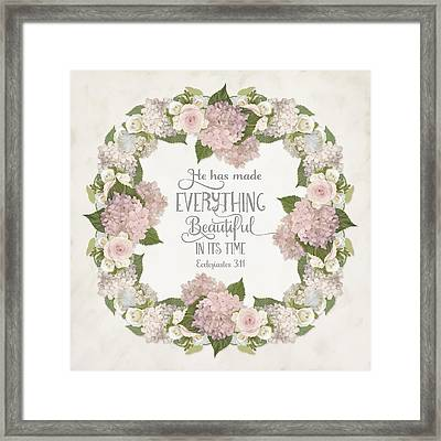 Inspirational Scripture - Everything Beautiful Pink Hydrangeas And Roses Framed Print by Audrey Jeanne Roberts