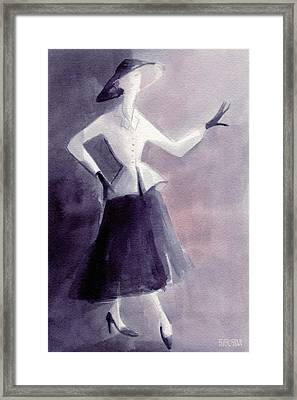 Inspired By Christian Dior Fashion Illustration Art Print Framed Print
