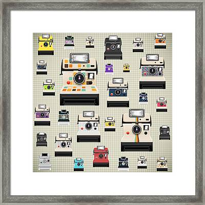 Instant Camera Pattern Framed Print