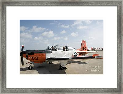 Instructor Pilot And Student In A T-34 Framed Print