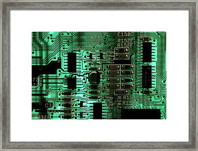 Integrated Circuit Board From A Computer Framed Print by Sami Sarkis