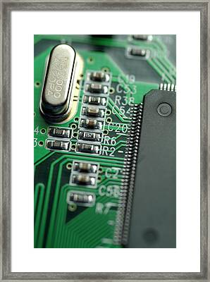 Integrated Circuit On A Computer Usb Board Framed Print by Sami Sarkis