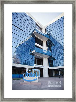 Intel Sign At Corporate Headquarters. Framed Print by Jovanovic Dragan