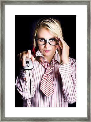 Intelligent Female Computer Geek Coding With Mouse Framed Print by Jorgo Photography - Wall Art Gallery