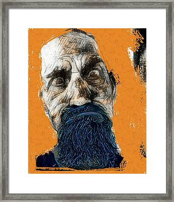 Intense Portrait Bulging Eyes Blue Beard Orange And Sketch Painting Vibrant Vivid Expression Beast Friendly Framed Print by MendyZ