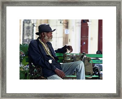 Framed Print featuring the photograph Interesting Cuban Gentleman In A Park On Obrapia by Charles Harden