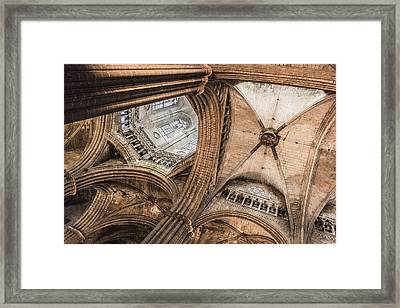Interior Barcelona Cathedral Framed Print by Chas Hauxby