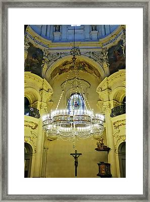 Interior Evening View Of St. Nicholas Church In Prague Framed Print