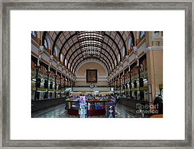 Interior Hall Of Historic Saigon Ho Chi Minh Central Post Office Building Vietnam Framed Print by Imran Ahmed