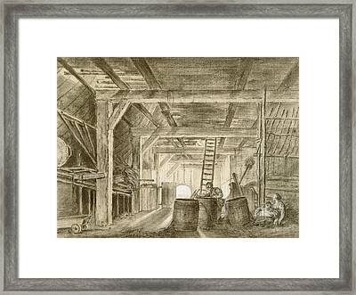 Interior Of A Barn With A Family Of Coopers Framed Print
