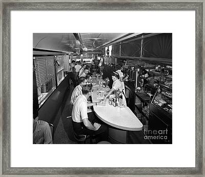 Interior Of A Busy Diner, C.1950-60s Framed Print