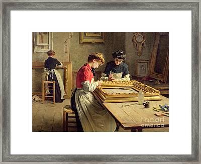 Interior Of A Frame Gilding Workshop Framed Print by Louis Emile Adan