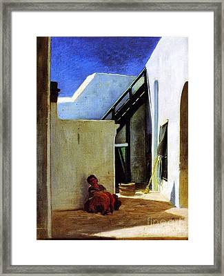 Interior Of A Moroccan Courtyard Framed Print by MotionAge Designs