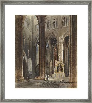 Interior Of Amiens Cathedral Framed Print