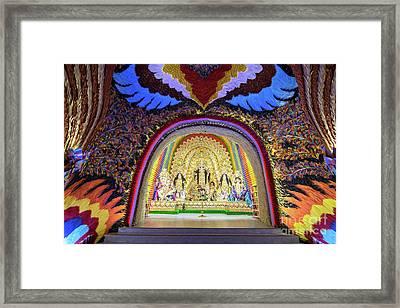 Interior Of Decorated Durga Puja Pandal, At Kolkata, West Bengal, India. Framed Print by Rudra Narayan Mitra