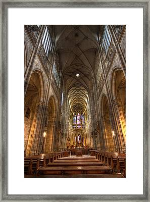Interior Of Saint Vitus Cathedral Framed Print by Gabor Pozsgai