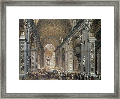 Interior Of St Peter's, Rome, 1867 Framed Print by Louis Haghe