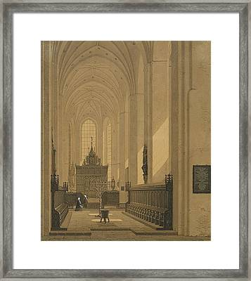 Interior Of The Cathedral At Aarhus Framed Print