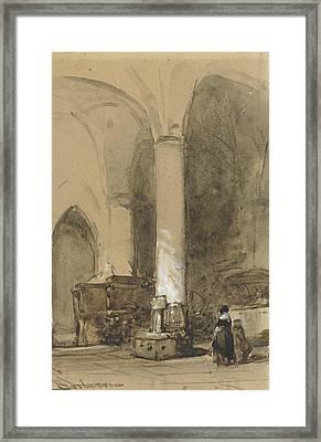 Interior Of The Church Hattem Framed Print by Johannes Bosboom