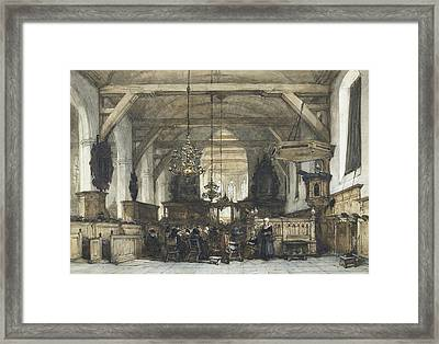 Interior Of The Church In Maasland Framed Print by Johannes Bosboom
